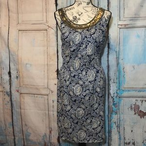 Ann Taylor Loft Dress Paisley Sequin Blue